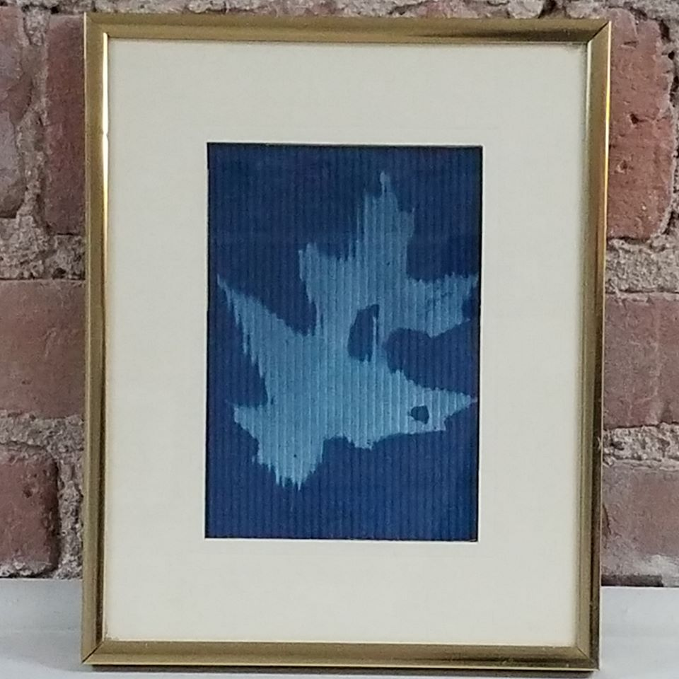 cyanotype autumn leaf