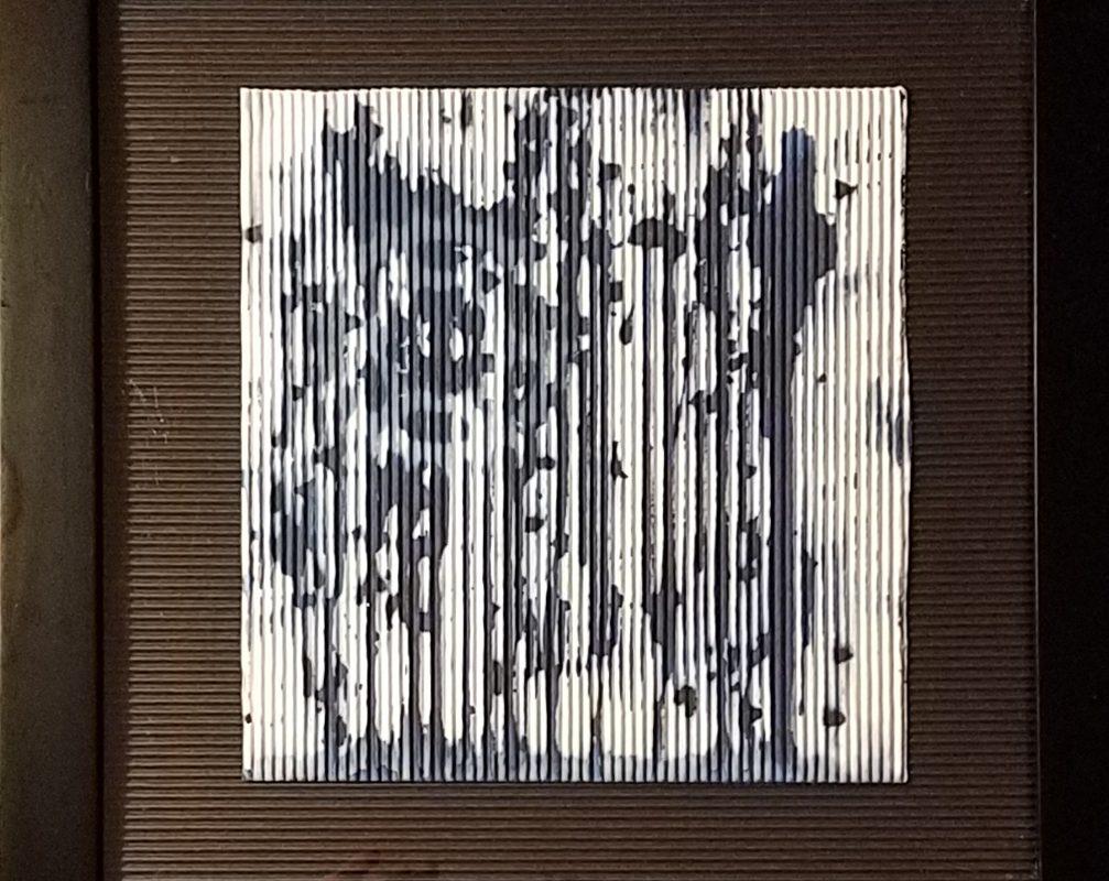 Cyanotype corrugated bicycle gears artwork
