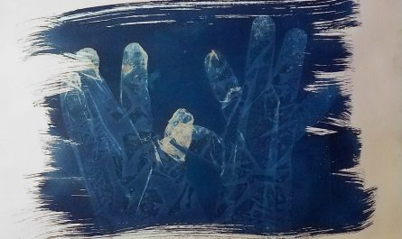 Cyanotype Hands Brush Strokes Art