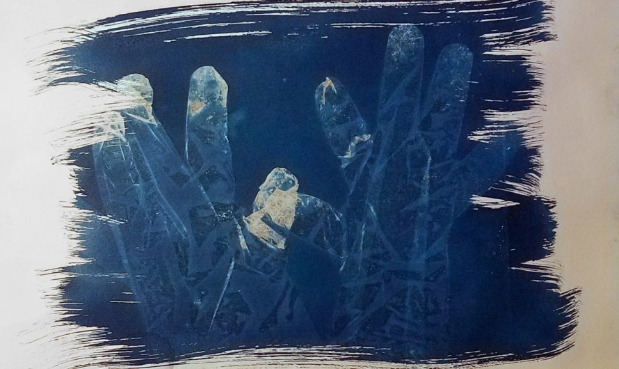 Cyanotype Pair of Hands Brushstroke Artwork