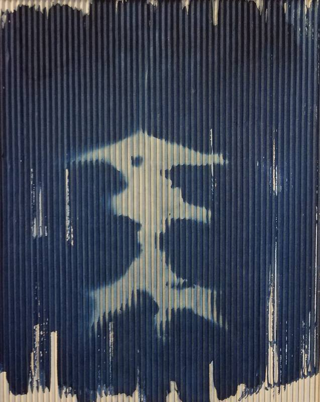 Japanese Lantern Autumn Leaf Cyanotype