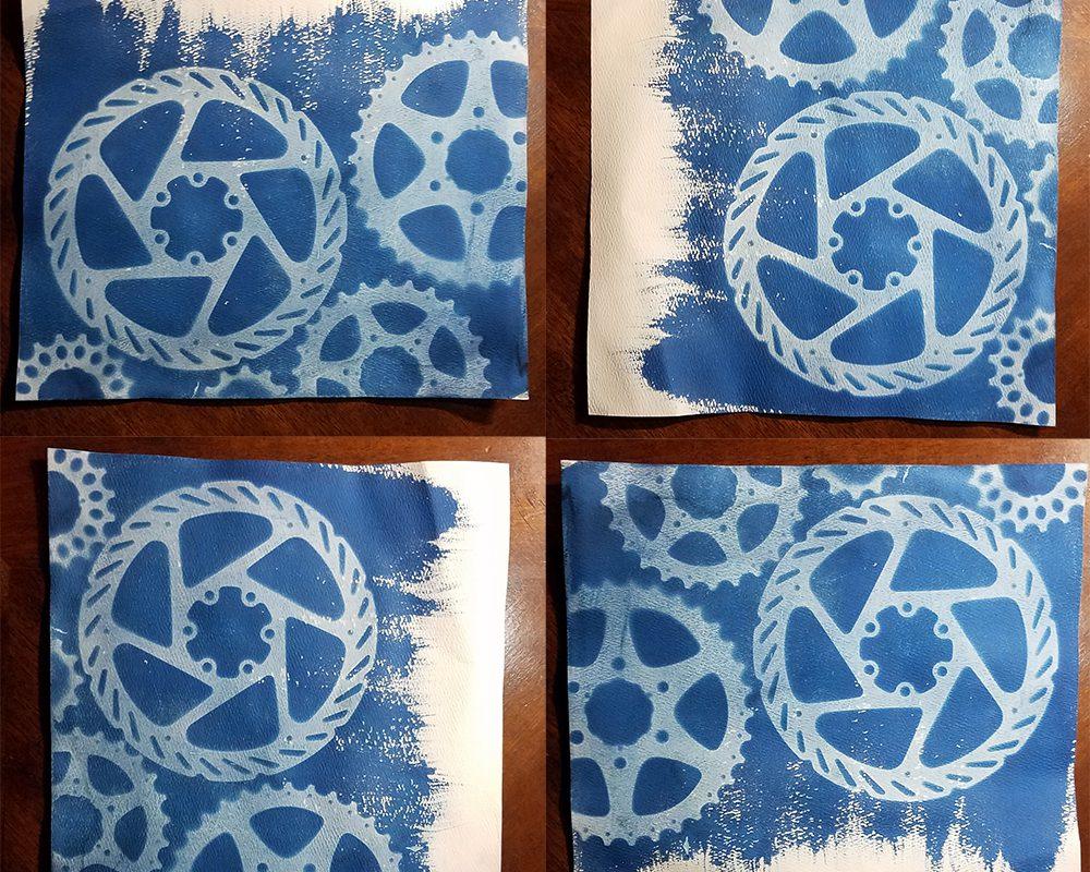 Cyanotype Gears with Brush Strokes