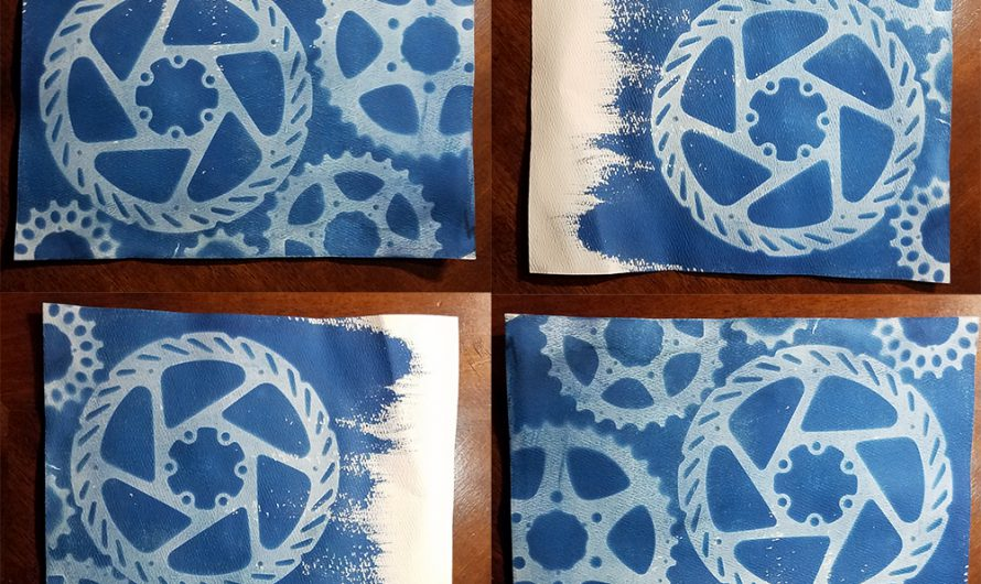 Gears Cyanotype with Brush Strokes