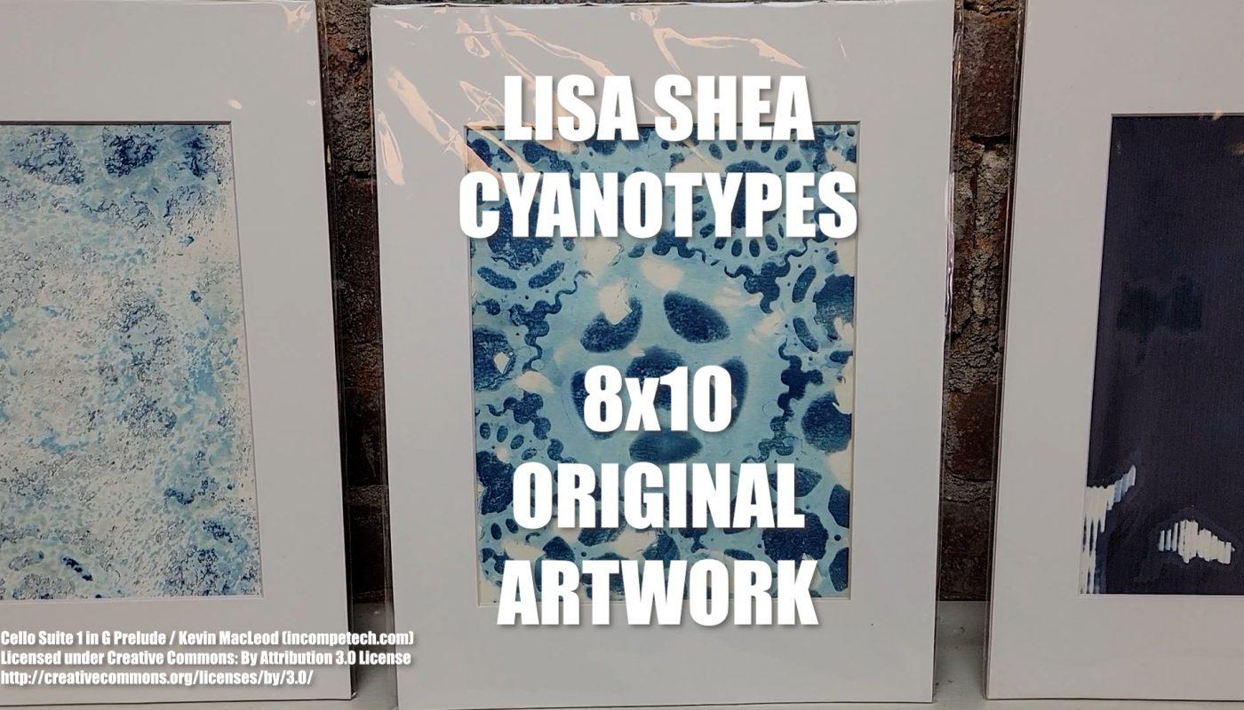 Cyanotype Original Artwork with Holga Negatives - Bicycle Gears - Wildflowers